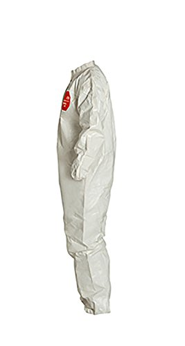 Large White Pack of 6 DuPont Tychem 4000 SL125T Disposable Chemical Resistant Coverall with Elastic Cuff and Taped Seams