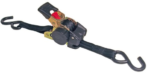 10' Tie Down Strap - Erickson 34415 Pro Series Black Retractable Ratcheting Tie-Down Strap (Pack of 2, 1