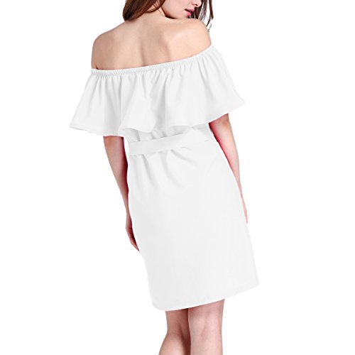 Line Shoulder Summer Women's Swing Dress Off Short Casual Dress A Solid White Ruffle OXX0qw