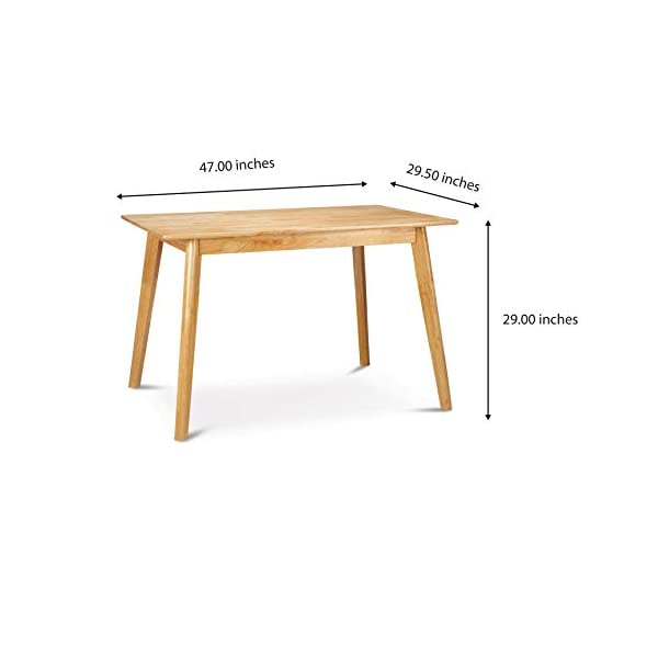 PJ Wood Kitchen Dining Table, Mid Century Modern, 47 Inch, Easy Assembly - Natural
