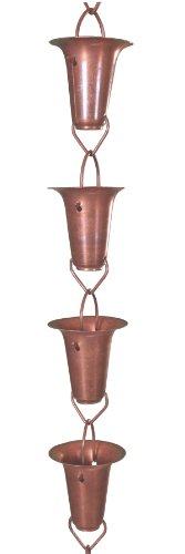 Monarch Pure Copper Funnel Rain Chain, 8-1/2-Feet Length