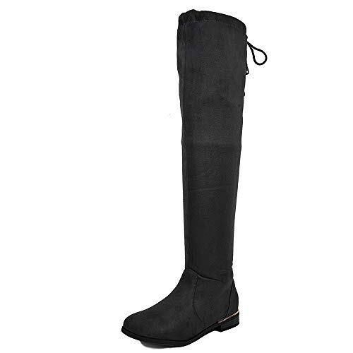 DREAM PAIRS Women's Upland Black Suede Over The Knee Thigh High Winter Boots - 9 M US