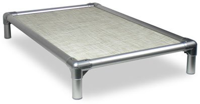 Kuranda All-Aluminum (Silver) Chewproof Dog Bed - XXL (50x36) - Vinyl Weave - Birch Forest