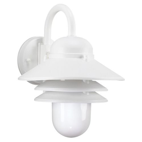 Sea Gull Lighting 83055-15 One-Light Outdoor Wall Lantern with White Plastic Polycarbonate Diffuser, White Finish (Outdoor Fixtures Plastic)