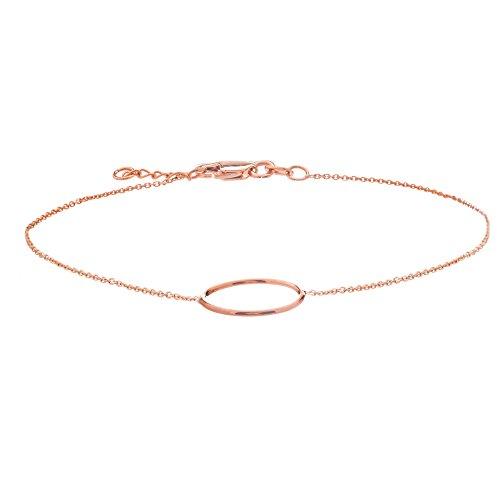 14k Rose Gold Open Circle Bracelet Adjustable Length - East2West