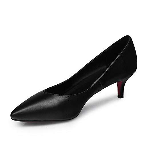 Shoes Nappa Heel Low Basic Black Leather Heels ZHZNVX Pump Black Women's Spring 51qn5gw