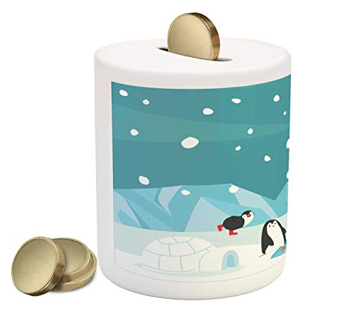 (Lunarable Arctic Piggy Bank, Mammal Under Snow in The North Pole, Printed Ceramic Coin Bank Money Box for Cash Saving, Cadet Blue Pale Sky Blue Dark Grey and Pale Cadet Blue)