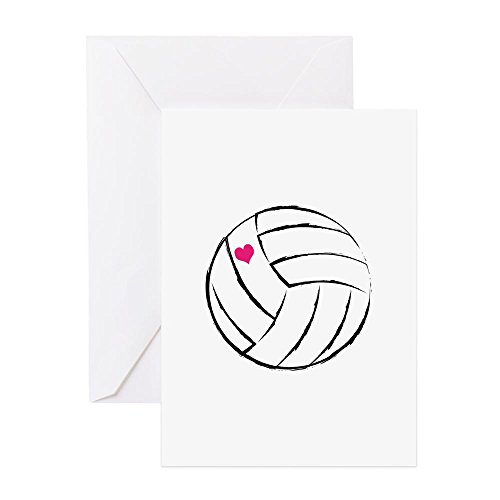 (CafePress - Volleyball- Heart Greeting Cards - Greeting Card, Note Card, Birthday Card, Blank Inside Matte)