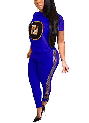 Deloreva Women Two Piece Outfits - Short Sleeve Summer Sweatsuit Jogging Suit Pants Set Activewear Blue S