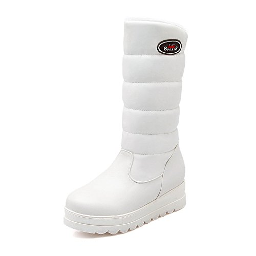 AgooLar Damen Blend-Materialien Rund Zehe Rein Mittler Kalb Niedriger Absatz Stiefel Weiß