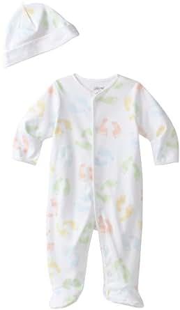 Little Me Unisex-Baby Newborn Baby Steps Footie and Hat, White Print, Newborn