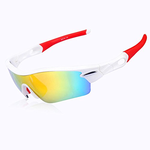 (Outdoor Sports Polarized Glasses Cross-country Riding Sunglasses Windproof Prevent Sand Goggles with Myopia for Ski and Travel , white and red)