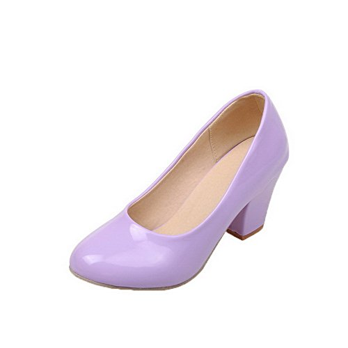 Odomolor Women's Patent Leather Round-Toe Kitten-Heels Pull-On Solid Pumps-Shoes, Purple, 38