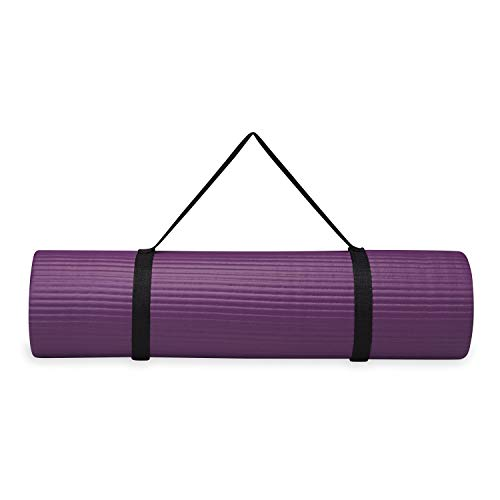 Gaiam Essentials Thick Yoga Mat Fitness & Exercise Mat with Easy-Cinch Yoga Mat Carrier Strap, Purple, 72 InchL x 24 InchW x 2/5 Inch Thick