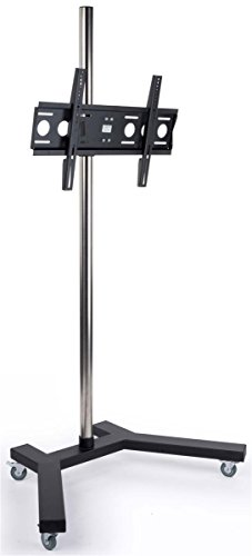 Displays2go, Flat Panel Floor TV Stand, Aluminum Construction – Black Finish (TVSTNTR2M) -