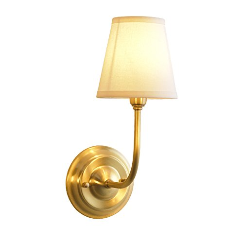 NOXARTE Brass Body Wall Mounted Light Industrial Vintage Style Fabric Lampshade Wall Sconce Wall Lamp Lighting Fixture for Bedroom Hallway Living Room W5.9 x H15.4 by NOXARTE