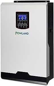 POWLAND 3KVA 2400W Hybrid Inverter 24V DC to 110V/120V AC Solar Power Inverter Built-in 80A MPPT Solar Charger Controller 60A Charger