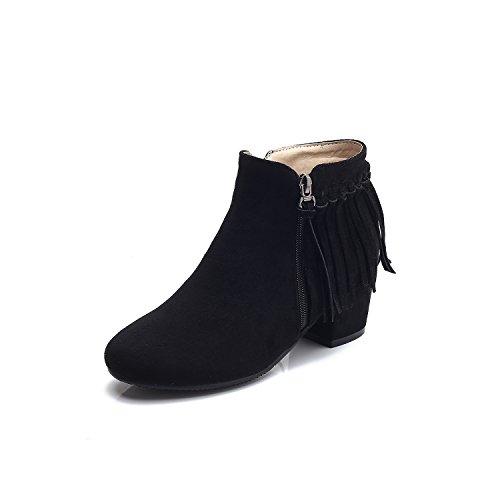 DecoStain Women's Fringe Chunky Block Heel Ankle High Zipper Booties Black GLKXMFOuw
