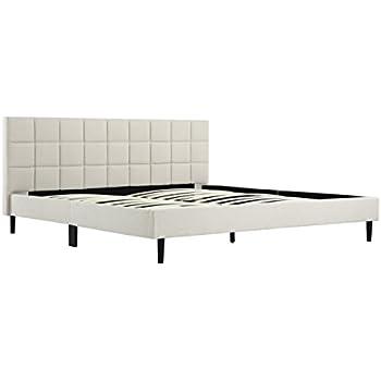 Amazon.com: Belleze King Size Bed Frame   Platform Bed Frame   Cream ...