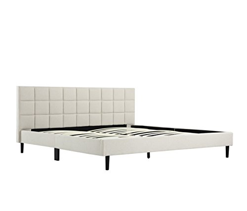 Belleze King Size Bed Frame | Platform Bed Frame | Cream | Scallop Tufted Upholstered Headboard | Wood Flat Supports Deluxe Spring Futon Mattress