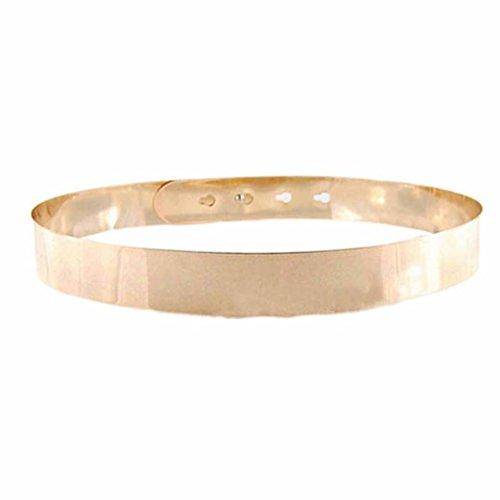 Hatop New Punk Full Metal Mirror Waist Belt Metallic Buckle Adjustable Waist Belt (Gold)