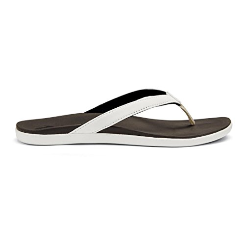 OLUKAI Women's Ho'Opio White/Black 10 B - White Leather Textured