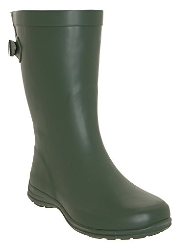 LA Gear Matte Solid with Back Gusset Mid-Calf Body Rain Boot Green Combo D9ftz