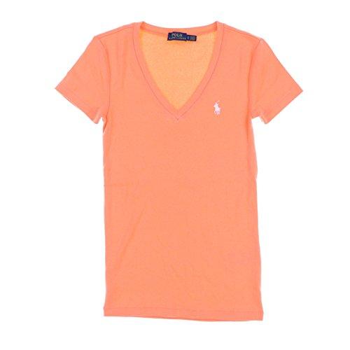 Polo Ralph Lauren Womens V-Neck Perfect Tee (Large, Orange)