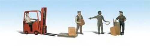 (Woodland Scenics HO Scale Scenic Accents Figures/People Set Workers/Forklift (4) )