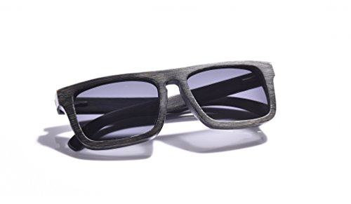 WOODWORD Bamboo Wood Sunglasses in Rectangular style with Polarized UV Protection Lenses for Men and Women-Hello from the Nature (Black Brushed, - Uv Sunglasses Lose Can Protection