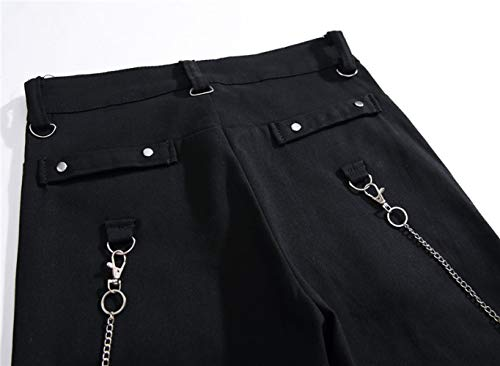 los Hombres Zip los de Slim Vaqueros Rectos Pantalones de básicos Acampanados WFL Ocasionales Multi Negro Negros Juveniles Hombres Personalidad Pantalones de Pantalones Viejos Mezclilla IFnw8nqX