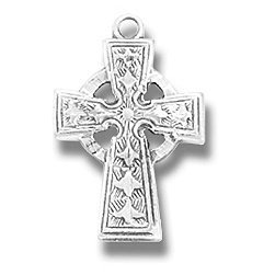 """Childrens Girls Boys Necklace with Celtic Cross Medal on 16"""" Rhodium Plated Chain Kids Jewelry. Perfect for Christmas Stocking Stuffer, Church, First Communion, Easter, Graduation, Sunday Dress, Christening or Birthday."""