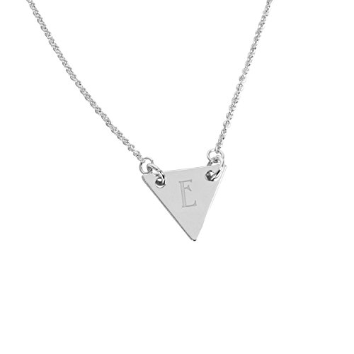 Cathy's Concepts Personalized Triangle Pendant Necklace, Silver, Letter E (Teenage Costumes Ideas)