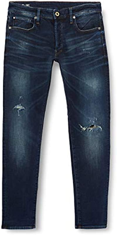 G-Star Raw męskie dżinsy 3301 Slim Fit, niebieskie (Worn In Ripped Wave 8968-B682), 32W / 32L: Odzież