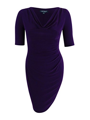 - LAUREN RALPH LAUREN Womens Plus Matte Jersey Ruched Wear to Work Dress Purple 2