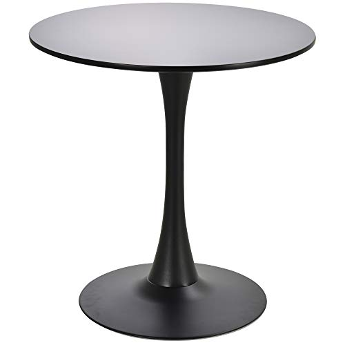 HOMCOM Modern 27.5″ Round Cocktail Table with a Stable Metal Base for Living Room, Porch, and Parties, Black