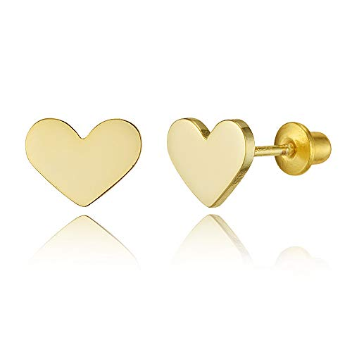 (14k Gold Plated Brass Plain Heart Screwback Baby Girls Earrings with Sterling Silver Post)
