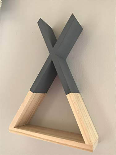 (Triangle TeePee Shelf, Wooden Nursery Shadow Box Floating Rustic Wood Shelves or Wall Decor, Gray)