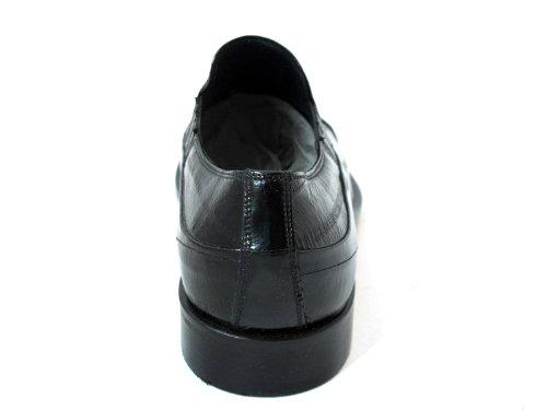 Redwood Hommes Habillé Anguille Peau Italien Cuir Slip Sur Chaussures 39902 Noir
