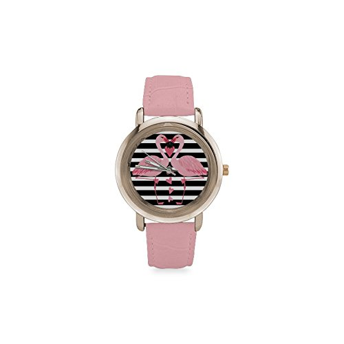 Friends Gifts Lovers Gifts Black White Stripes Two Love Flamingos Women's Gold Leather Strap Watch by Flamingo Watch (Image #4)