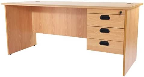 Mahmayi Bess 180 Office Desk with Fixed Drawers, Beige, BG180HD