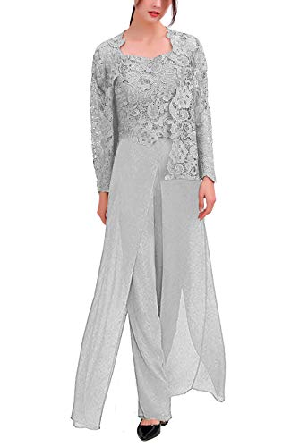 Women's 3 Pieces Chiffon Dress Mother of The Bride Pants Suits with Lace Jacket Wedding Outfit Evening Gown Silver US20W