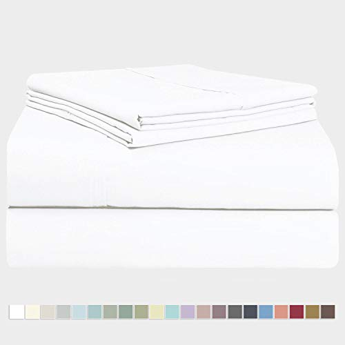 Pizuna 400 Thread Count Queen Cotton Sheets Set White, 100% Long Staple Cotton Sheet Set, Soft Cotton Bed Sheets Deep Pocket fit Upto 16 inch (White Queen 100% Cotton ()