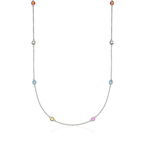 Ross-Simons 3.00 ct. t.w. Multicolored Sapphire Station Necklace in Sterling ()