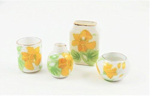 Daffodil Ornament - Melody Jane Dollhouse 4 Daffodil Vases Decorative Miniature Ornament Accessory