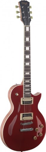 Stagg SEL-ZEB-MRDL Series Zebra 6-String Electric Guitar with Solid Mahogany Body – Metallic Red