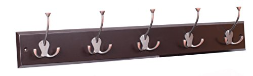 BirdRock Home Tri Hook Coat Rack | 5 Hooks | Wall Mount Hat Rack | Brown Finish | Bronze Hooks