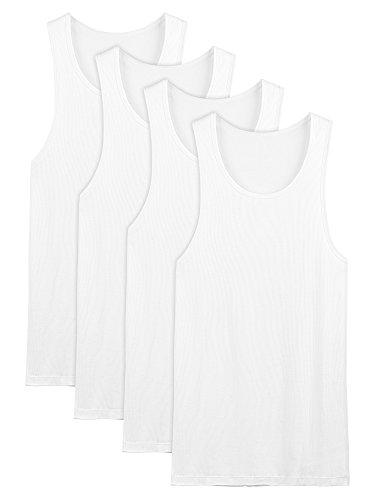 David Archy Men's 4 Pack Cotton Rib Tank Top A-Shirts Sleeveless Workout Undershirts(White,L) (Long Tank Rib)