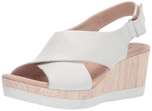 White Leather Wedge - CLARKS Women's Cammy Pearl Wedge Sandal, White Leather, 050 M US