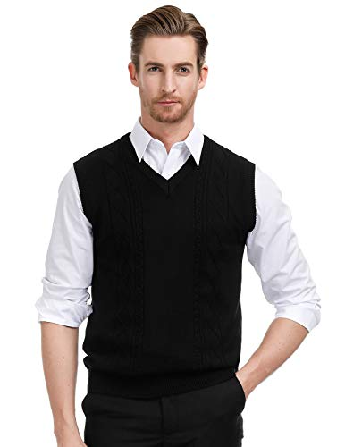PAUL JONES Men's Solid Color V-Neck Sweater Vest Knit V-Neck Sweater XL Black